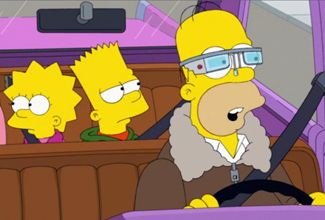 Homero Simpson usa los Google Glass