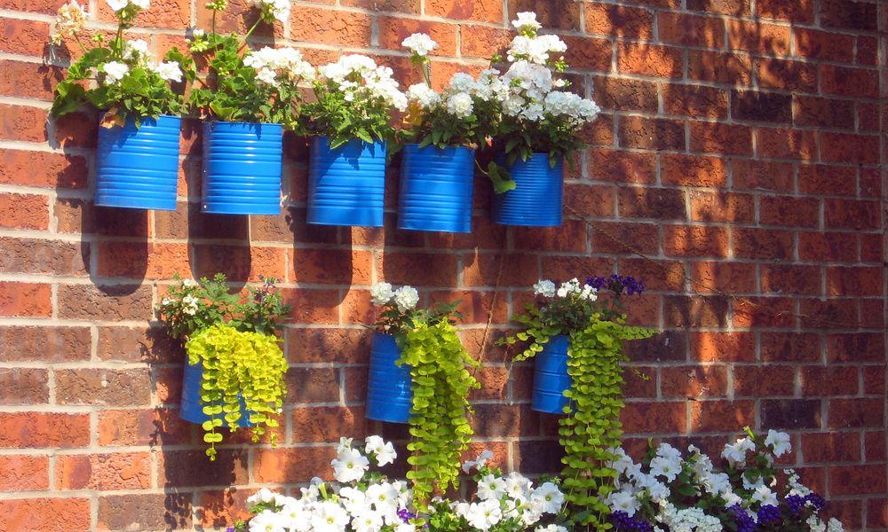 jardines pequeños con material reciclable